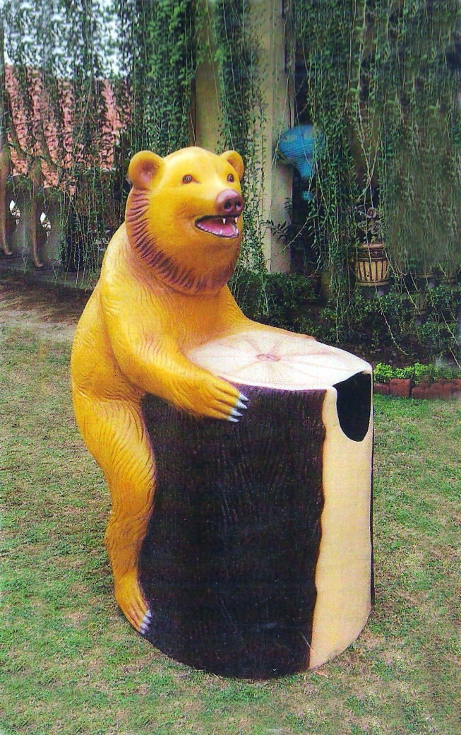 bear dustbin with log