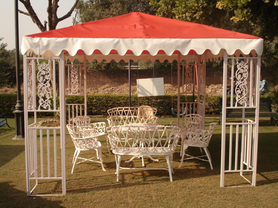 white gazebo with red fabr