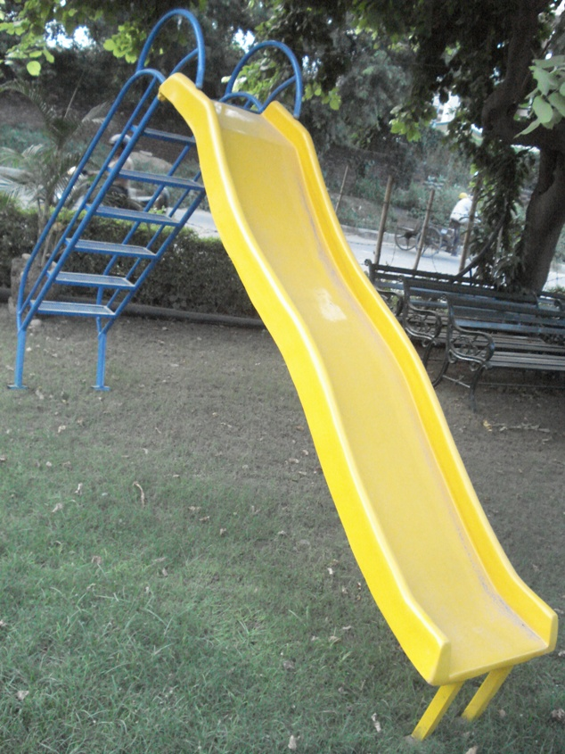 yellow slide with blue lad
